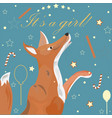 baby girl birth announcement cute fox announces vector image