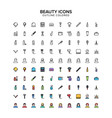 beauty outline colored icons vector image vector image