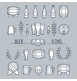 Beer icons set isolated on grey vector image