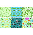 cartoon seamless pattern from frogs different vector image