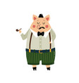 character funny pig on isolated background vector image vector image