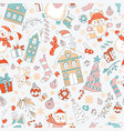 characters and christmas elements seamless pattern vector image vector image