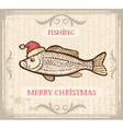 Christmas image of Fishing with fish in Santa hat