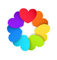 Circle of colored paper hearts vector image vector image