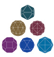 Collection of 6 single color complex dimensional vector image