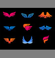 collection of wings logos icons and symbols fast vector image