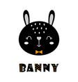 cute cartoon bunny face on white scandinavian vector image vector image