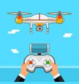drone control via remote quadcopter aerial with vector image