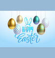 easter greeting background with realistic golden vector image vector image