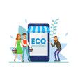 eco shopping people ordering food online vector image vector image