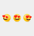 emoticons in cute 3d style set isolated on white vector image