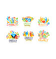 family labels original design collection colorful vector image vector image
