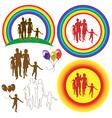 family rainbow sun balloons vector image vector image