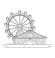 ferris wheel and tent carnival festival vector image vector image