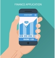Financial application Smart phone with business vector image vector image