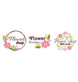 floral shop badge decorative frame template vector image