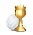 golf award golf ball golden cup banner vector image vector image