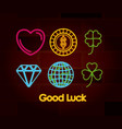 good luck symbols set of neon sign on brick wall vector image