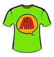 green shirt with ad letters icon cartoon vector image