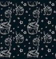 hand drawn bithday cupcake seamless dark pattern vector image