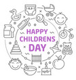 happy childrens day linear vector image vector image