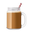 ice coffee jar icon realistic style vector image