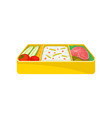 japanese food in yellow lunchbox on white vector image vector image