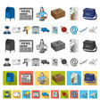 mail and postman cartoon icons in set collection vector image