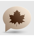 Maple leaf sign Brown gradient icon on bubble vector image vector image