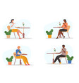 men and women drinking hot beverages coffee or tea vector image