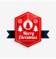 merry christmas red label design vector image