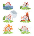 nature disaster mountain ice tsunami volcano lava vector image
