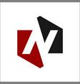 negative space n logo vector image vector image
