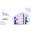 online shopping concept girls make purchases in vector image vector image