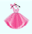pink party prom dress with bow vector image vector image