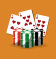 poker cards and chips gamble fortune vector image