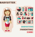 Profession of people Flat infographic Babysitter vector image vector image