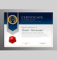 professional blue certificate template design vector image vector image