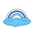 Rainbow with clouds icon