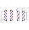 realistic barber pole glass barber shop poles vector image vector image