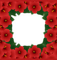 red hibiscus flower - rose of sharon border vector image vector image