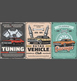 retro cars tuning service vintage vehicles vector image vector image