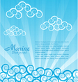 sea background with waves and clouds vector image