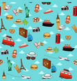 seamless vacation travel pattern wallpaper vector image vector image