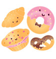 set of cute sweets croissant donut pretzel vector image