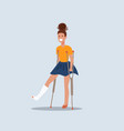 smiling brunette girl on crutches with broken leg vector image