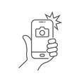 the hand hold smartphone and photographed with vector image