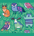 tribal forest animals in green vector image