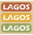 Vintage Lagos stamp set vector image vector image