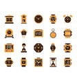 watch simple color flat icons set vector image